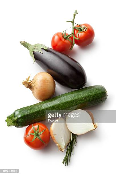 Ingredients: Vegetables for Ratatouille Isolated on White Background
