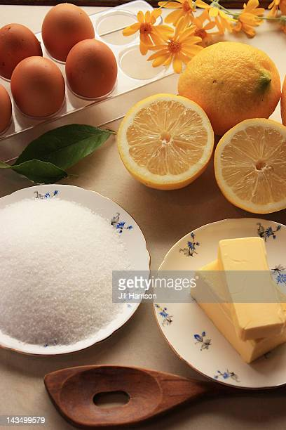 ingrediernts for lemon butter - jill harrison stock pictures, royalty-free photos & images