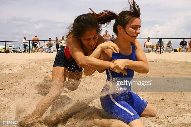 Ingri Santos wrestles Lila Ristevska during the Beach/Sombo Wrestling National Championships on August 19 2006 in Palm Beach County Florida