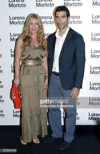 Ingrid Asensio and Fernando Sanz attend the opening of a new Lorena Morlote's Hairdresser's shop on August 15 2011 in Marbella Spain