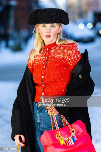 Ingrid Berg in Iggy Jeans poses for a picture outside of Hotel Diplomat on the third day of Stockholm Fashion Week Autumn/Winter 2021 on February 11,...