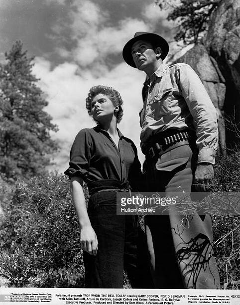 Ingrid Bergman and Gary Cooper star in the Paramount film 'For Whom The Bell Tolls' based on Ernest Hemingway's love story set during the Spanish...