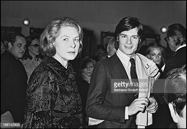 Ingrid Bergman and her Son Roberto Rossellini attend a party in 1976