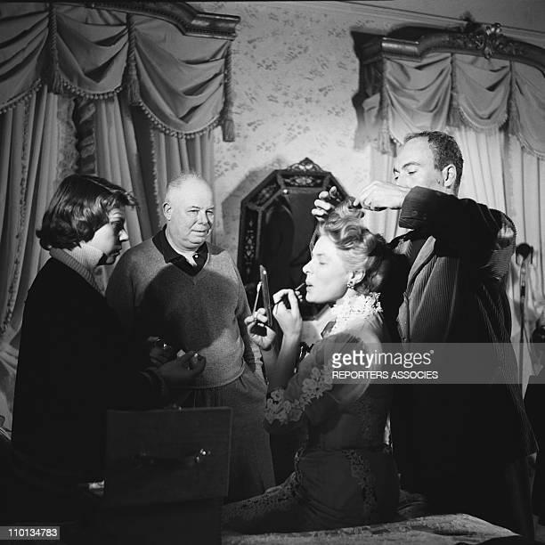 Ingrid Bergman and Jean Renoir at the set of the movie 'Elena and her men' by Jean Renoir in 1955
