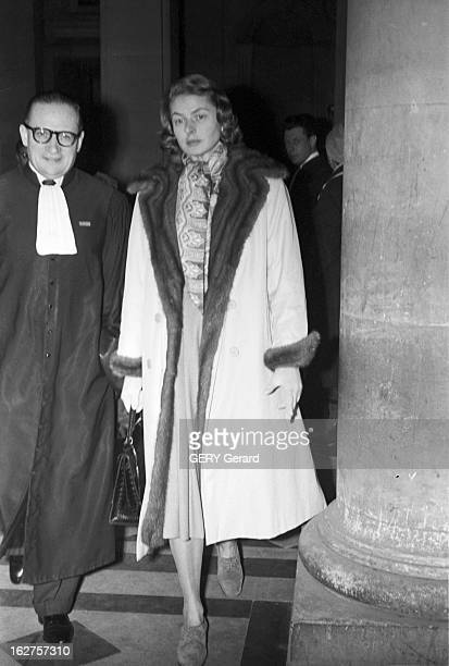 Ingrid Bergman And Roberto Rossellini At The Courthouse For The Custody Of Their Three Children. France, 19 janvier 1959, l'actrice suédoise Ingrid...