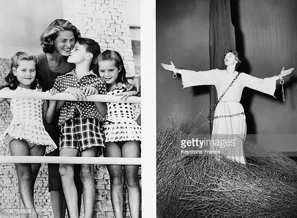 Ingrid Bergman As Joan Of Arc And Ingrid Bergman With Her Three Children. 1950'S