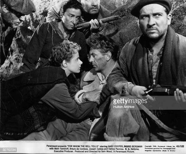Ingrid Bergman Gary Cooper Arturo de Cordova and Katina Paxinou star in the Paramount film 'For Whom The Bell Tolls' based on Ernest Hemingway's love...