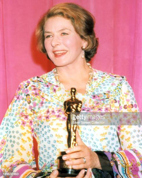 Ingrid Bergman Swedish actress holding her Oscar statuette at the 47th Academy Awards at the Dorothy Chandler Pavilion in Los Angeles California USA...