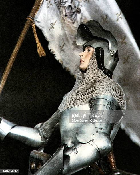 Ingrid Bergman , Swedish actress, wearing a suit of armour in a publicity portrait issued for the film, 'Joan of Arc', 1946. The historical drama,...