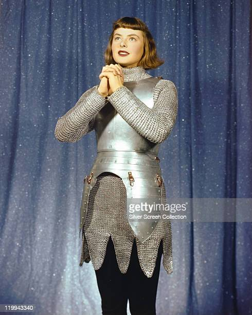 Ingrid Bergman Swedish actress wearing a suit of armour in the stage production 'Joan of Lorraine' 1946 The play written by directed by Maxwell...
