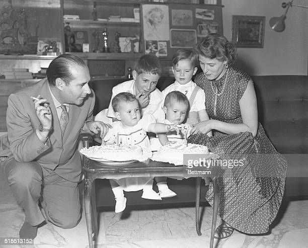 Ingrid Bergman with her husband, Roberto Rossellini, and their children, Robertino, and twin daughters, Isabella and Isotta, on the occasion of the...