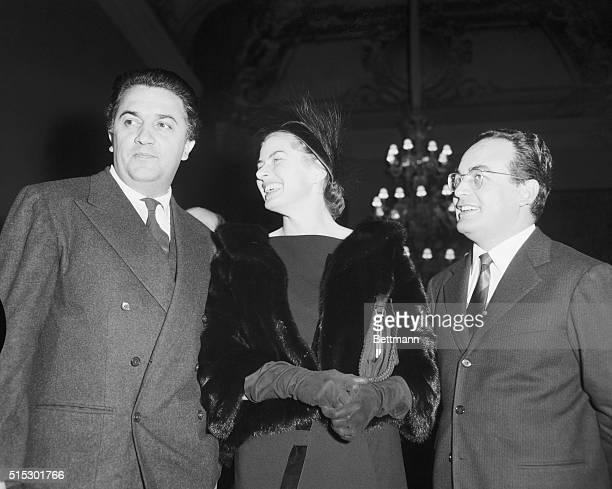 Ingrid Bergman with Italian film director Federico Fellini and producer Dino De Laurentiis Photo circa 1958