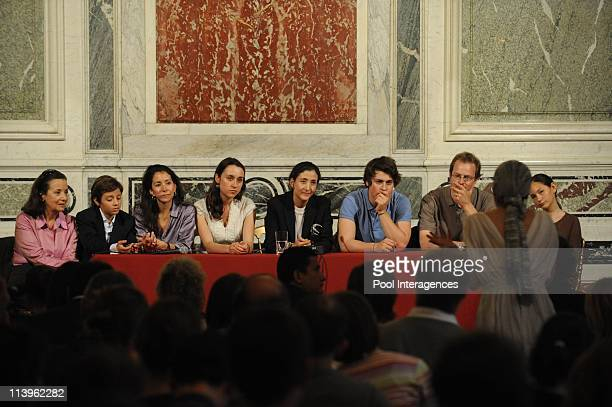 Ingrid Betancourt holds a press conference at hotel Marigny with her children in Paris, France on July 04, 2008-Former Fanco-Colombian hostage Ingrid...