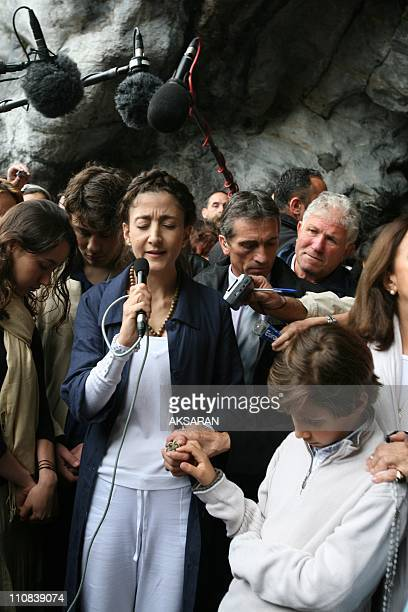 Ingrid Betancourt Visits The Massabielle Caves In Lourdes France On July 12 2008 Ingrid Betancourt arrives at Lourdes holy Grotto with Yolanda Pulcio...