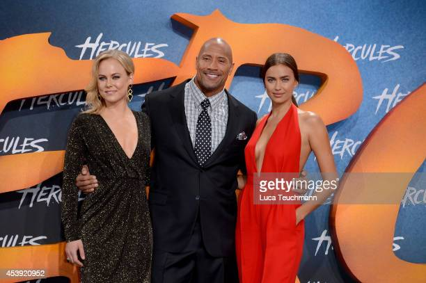 Ingrid Bolso Berdal Dwayne Johnson and Irina Shayk attend the European premiere of the film 'Hercules' at CineStar on August 21 2014 in Berlin Germany