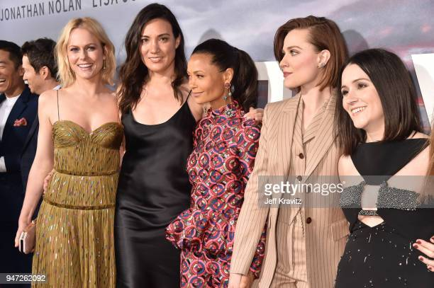 Ingrid Bolso Berdal Lisa Joy Thandie Newton Evan Rachel Wood and Shannon Woodward attend the Los Angeles Season 2 premiere of the HBO Drama Series...