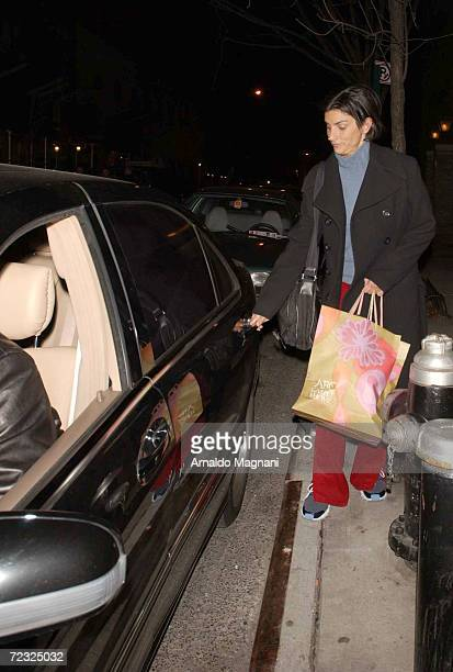 Ingrid Casares nightclub/restaurant owner and close friend of Madonnas leaves the singers house February 22 2002 in New York City