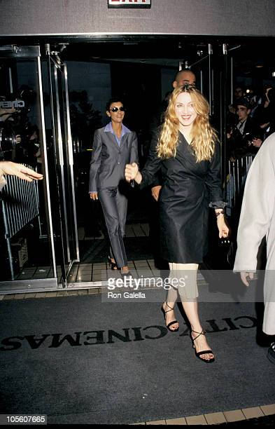 Ingrid Caseres and Madonna during Madonna Sighting in New York City April 28 1998 at City Cinemas II in New York City New York United States