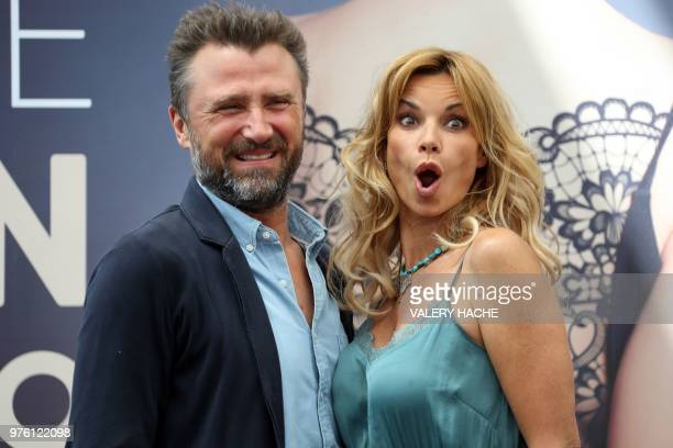 Ingrid Chauvin and Alexandre Brasseur pose during a photocall for the TV show 'Demain nous appartient' as part of the 58nd MonteCarlo Television...