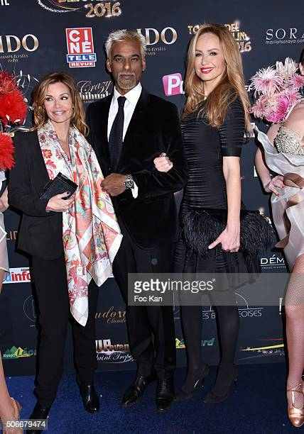 Ingrid Chauvin Satya Oblette and Adriana Karembeu attend the 'Top Model Belgium 2016' Ceremony at Le Lido on January 24 2016 in Paris France