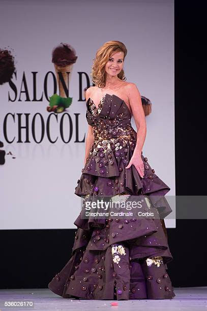 Ingrid Chauvin walks the Runway during the 'Salon Du Chocolat' Fashion Show on October 29 2014 in Paris France
