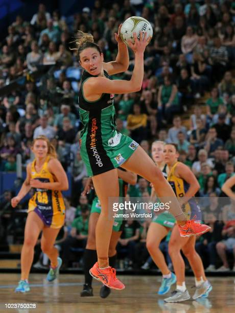 Ingrid Colyer of the West Coast Fever takes control of the ball while in the air during the Super Netball Grand Final match between the the Fever and...