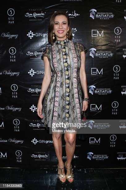 Ingrid Coronado poses for photos on the red carpet prior a Karina Velazquez event at Polanco on June 6, 2019 in Mexico City, Mexico.