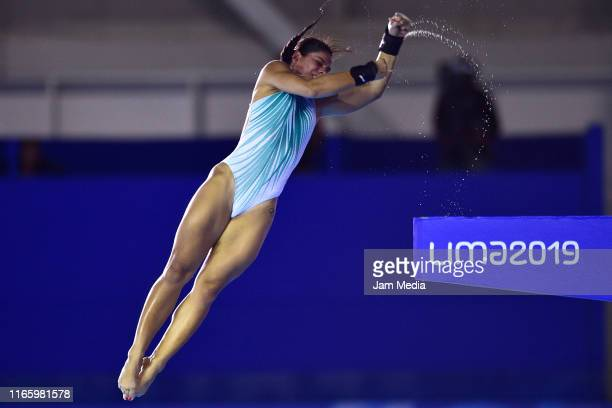 Ingrid De Oliveira of Brasil dives during the Women's diving 10m Platform Final at Aquatics Center of Villa Deportiva Nacional on Day 8 of Lima 2019...