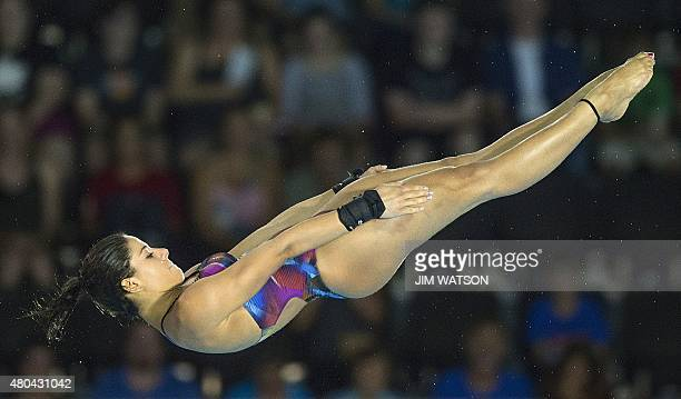 Ingrid De Oliveira of Brazil competes in the Womens 10m Platform finals at the 2015 Pan American Games in Toronto Canada July 11 2015 AFP PHOTO / JIM...