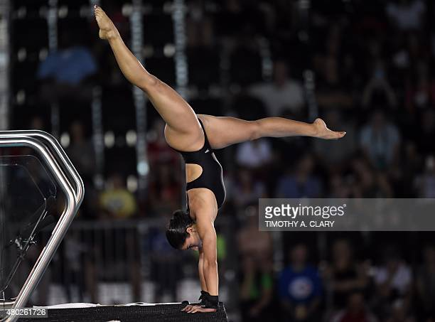 Ingrid De Oliveira of Brazil dives during the Women's 10m Platform SemiFinals at the Toronto 2015 Pan American Games in Toronto Canada July 10 2015...