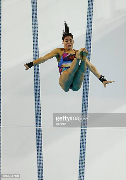 Ingrid De Oliveira of Brazil dives during the Women's 10m Platform Final on July 11 2015 in Toronto Canada