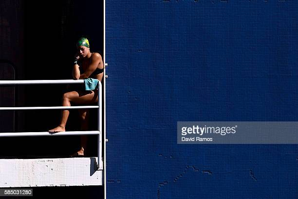 Ingrid de Oliveira of Brazil looks on as she practices on the Women's 10m Platform at the Maria Lenk Aquatics Centre in the Olympic Park on August 1...