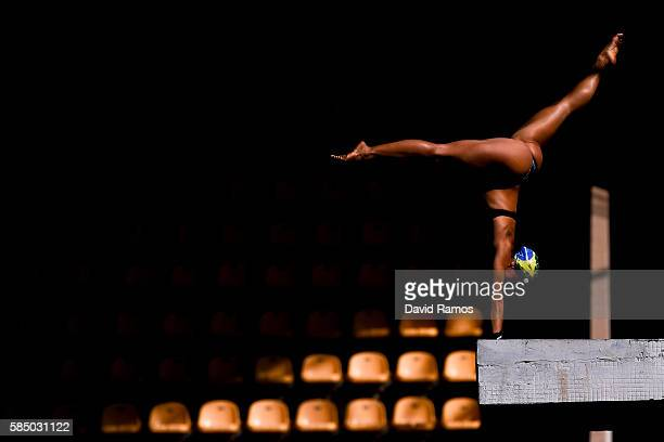 Ingrid de Oliveira of Brazil practices on the Women's 10m Platform at the Maria Lenk Aquatics Centre in the Olympic Park on August 1 2016 in Rio de...