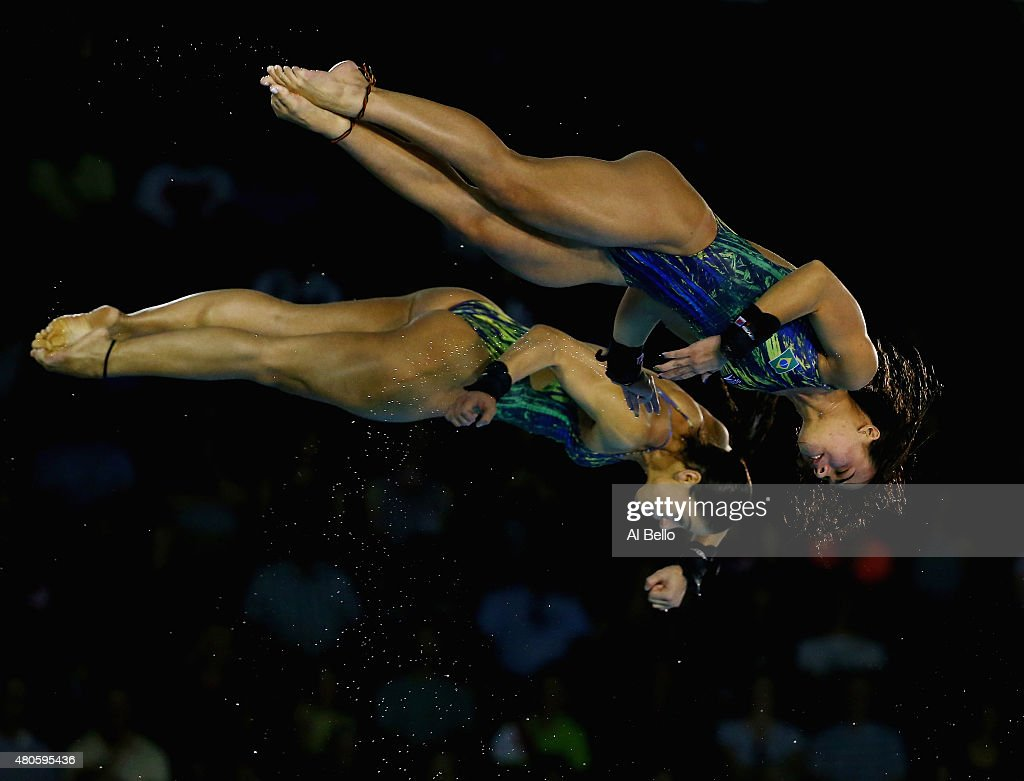 Ingrid DeOliveira and Giovanna Pedroso of Brazil dive at