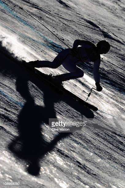 Ingrid Jacquemod of France skis in the Women's Downhill Training during the Alpine FIS Ski World Championships on the Kandahar course on February 10...