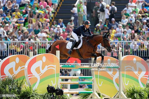 Ingrid Klimke of Germany riding HaleBob Old during the eventing team jumping final and individual qualifier on Day 4 of the Rio 2016 Olympic Games at...