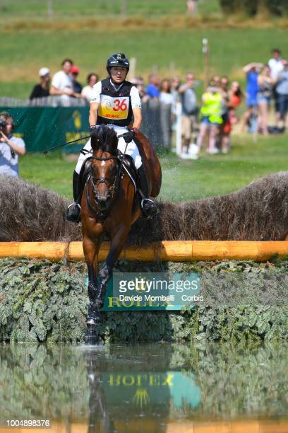 Ingrid Klimke of Germany riding SAP Hale Bob OLD during the obstacle in the water of the Cross Country test DHLPrize in the park of the CHIO of...