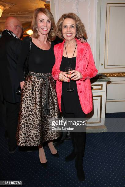 Ingrid Kraus and Michaela May during the celebration of Peter Kraus' 80th birthday at Schuhbecks Suedtiroler Stuben on March 18 2019 in Munich Germany