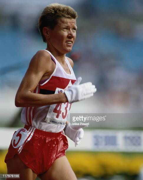 Ingrid Kristiansen of Norway during the Women's 10000 metres at the XXIV Summer Olympic Games on 30th September 1988 at the Seoul Olympic Stadium in...