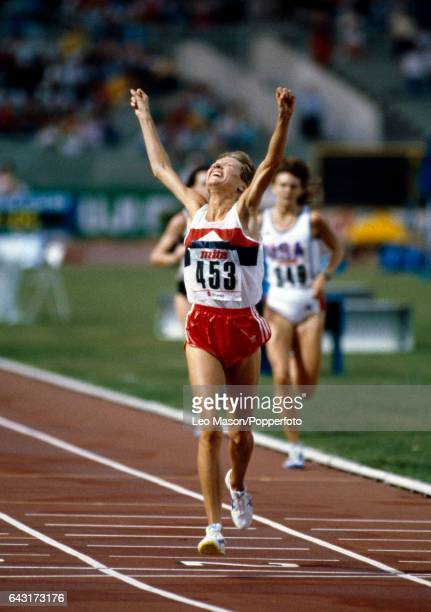 Ingrid Kristiansen of Norway wins the women's 10000 metres event during the World Athletics Championship in Rome on 4th September 1987
