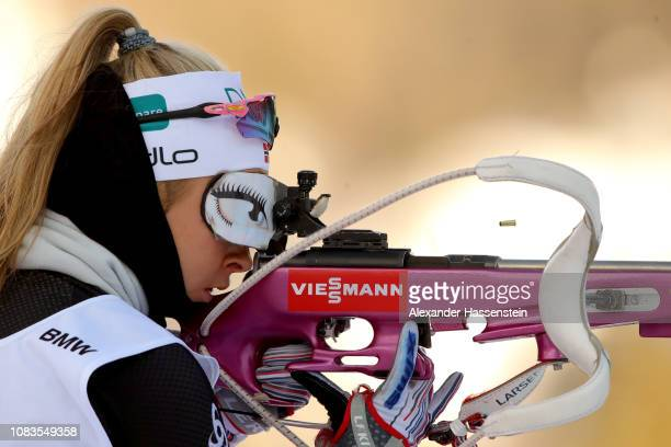 Ingrid Landmark Tandervold of Norway at the zeoring for the 75 km Women's Sprint during the IBU Biathlon World Cup at Chiemgau Arena on January 17...