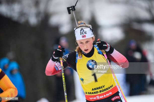 Ingrid Landmark Tandrevold of Norway in action competes during the Women 12.5 km Mass Start Competition at the BMW IBU World Cup Biathlon Le Grand...