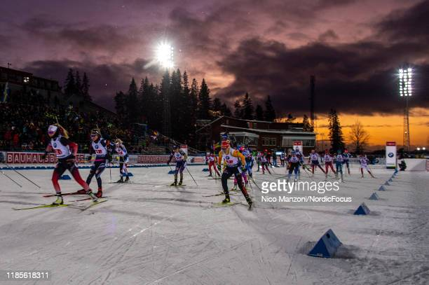 Ingrid Landmark Tandrevold of Norway, Lisa Vittozzi of Italy and Karolin Horchler of Germany compete during the Mixed Relay at the BMW IBU World Cup...