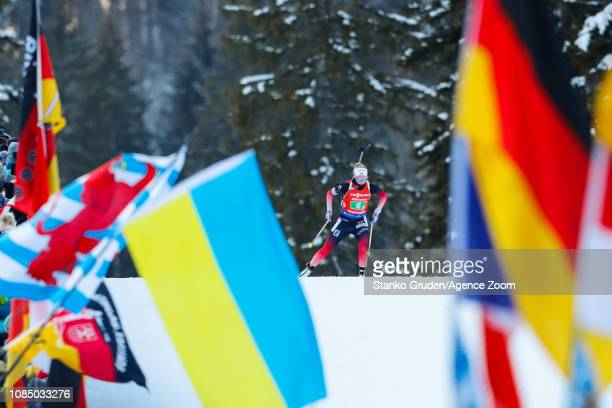 Ingrid Landmark Tandrevold of Norway takes 2nd place during the IBU Biathlon World Cup Women's Relay on January 19, 2019 in Ruhpolding, Germany.