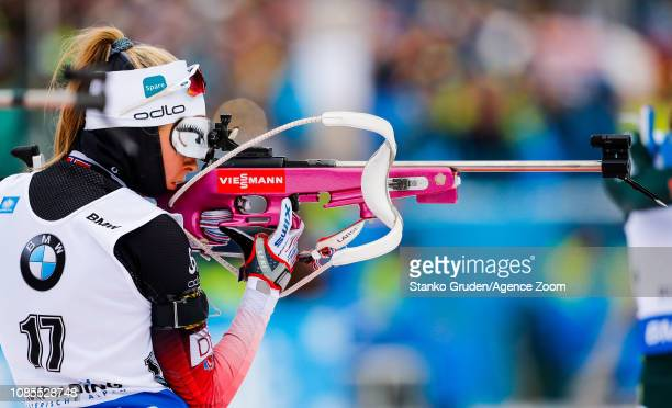 Ingrid Landmark Tandrevold of Norway takes 2nd place during the IBU Biathlon World Cup Men's and Women's Mass Start on January 20, 2019 in...