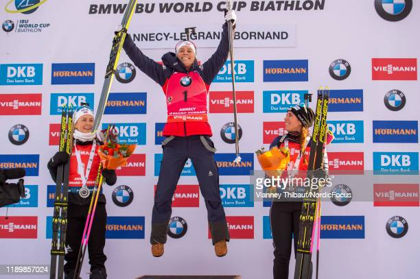 Ingrid Landmark Tandrevold of Norway Tiril Eckhoff of Norway Lena Haecki of Switzerland compete during the Women 10 km Pursuit Competition at the BMW...