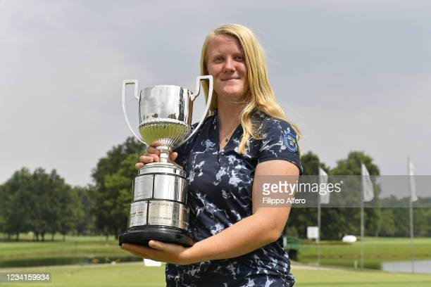 Ingrid Lindblad of Sweden poses with the trophy during European Ladies' Amateur Championship 2021 at Royal Park Golf & Country Club on July 24, 2021...
