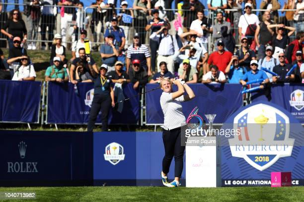 Ingrid Lindblad of Team Europe during the Junior Ryder Cup GolfSixes ahead of the 2018 Ryder Cup at Le Golf National on September 26 2018 in Paris...
