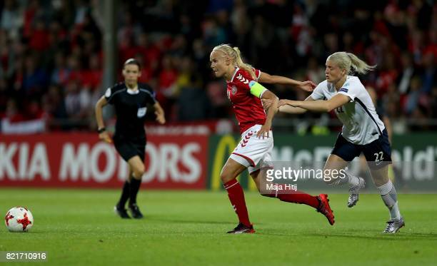 Ingrid Marie Spord of Norway and Pernille Harder of Denmark compete for the ball during the Group A match between Norway and Denmark during the UEFA...