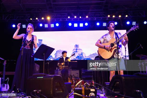 Ingrid Michaelson and Darren Criss perform onstage during Elsie Fest at Central Park SummerStage on October 8 2017 in New York City